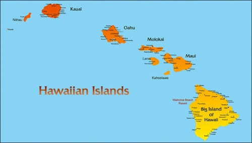 Map Hawaiian Islands And Usa